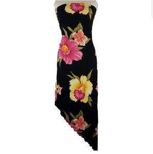 Cache asymmetrical hem strapless dress
